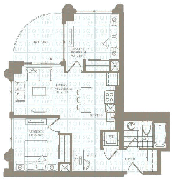 2-Bed-1-Bath-The-Carrie-729-sqft chicago condo Chicago Condo 2 Bed 1 Bath The Carrie 729 sqft