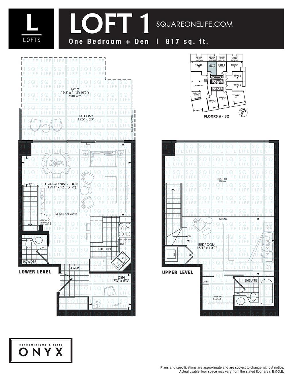 223-Webb-Dr-Onyx-Condo-Floorplan-Loft-1-1-Bed-1-Den onyx condo Onyx Condo 223 Webb Dr Onyx Condo Floorplan Loft 1 1 Bed 1 Den