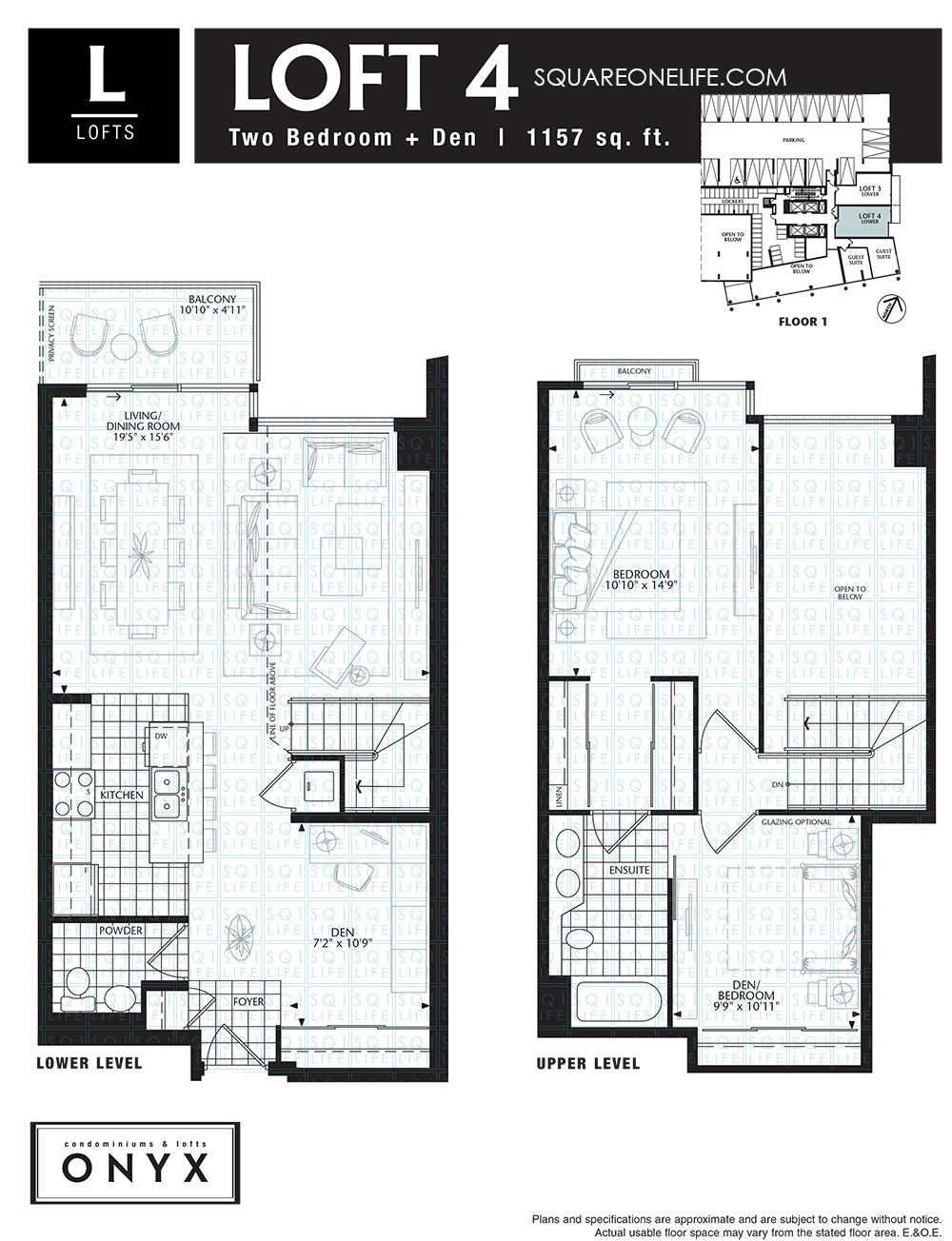 Onyx condo 223 webb dr mississauga squareonelife for Loft floorplans