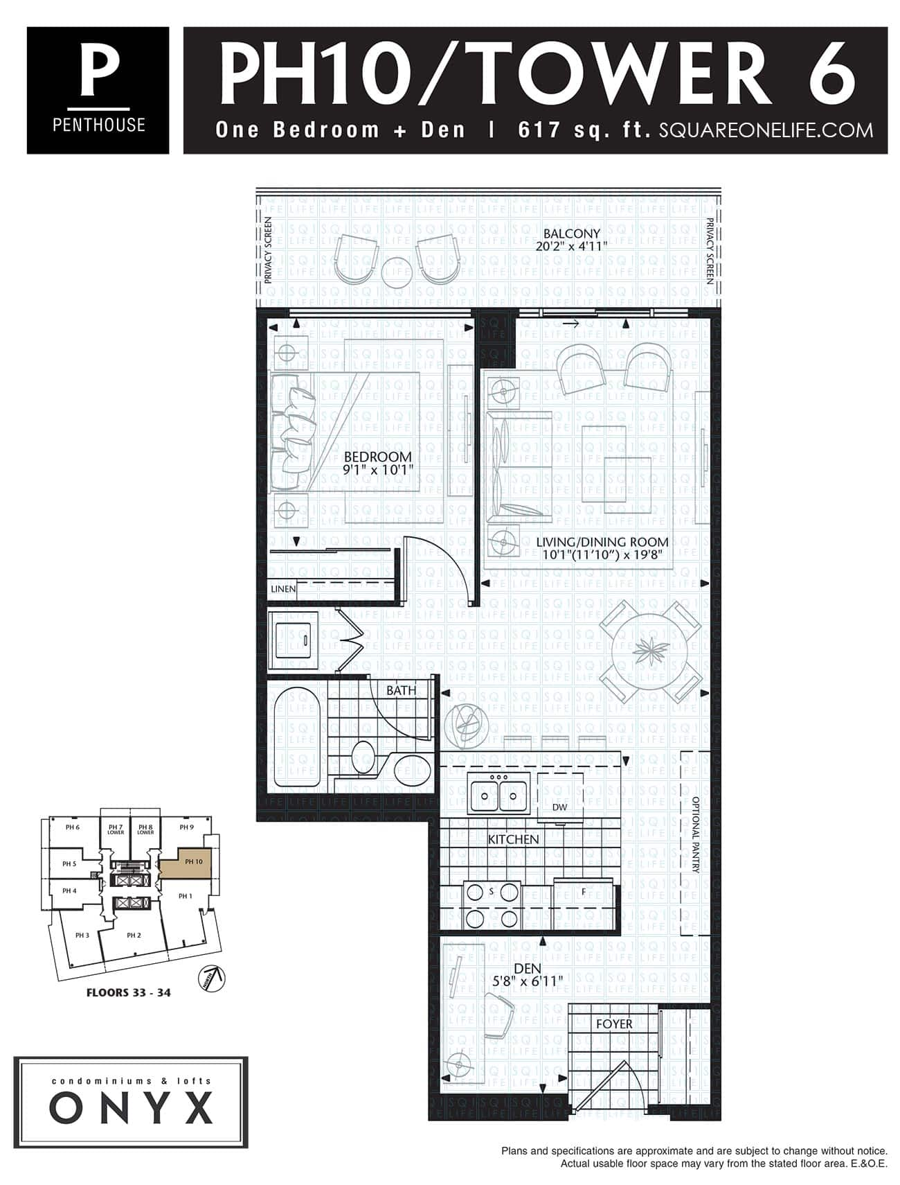 223-Webb-Dr-Onyx-Condo-Floorplan-PH10-1-Bed-1-Den onyx condo Onyx Condo 223 Webb Dr Onyx Condo Floorplan PH10 1 Bed 1 Den