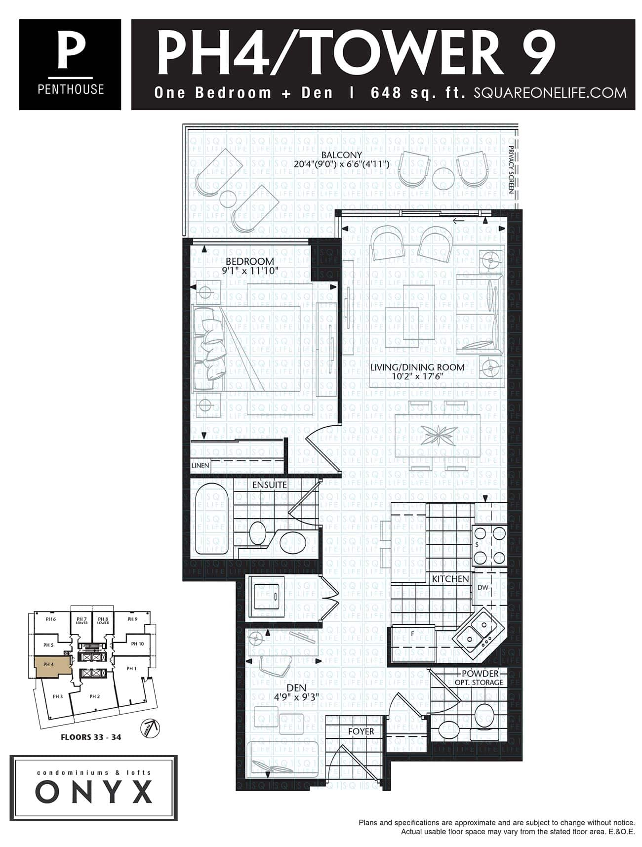 223-Webb-Dr-Onyx-Condo-Floorplan-PH4-1-Bed-1-Den onyx condo Onyx Condo 223 Webb Dr Onyx Condo Floorplan PH4 1 Bed 1 Den
