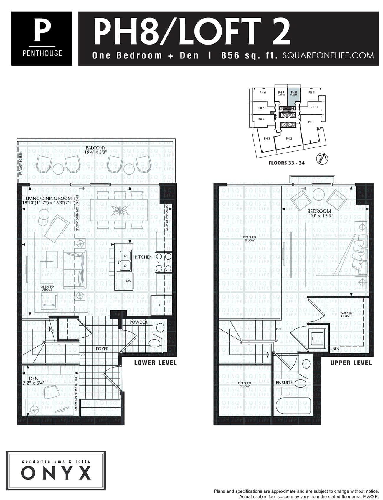 223-Webb-Dr-Onyx-Condo-Floorplan-PH8-1-Bed-1-Den onyx condo Onyx Condo 223 Webb Dr Onyx Condo Floorplan PH8 1 Bed 1 Den