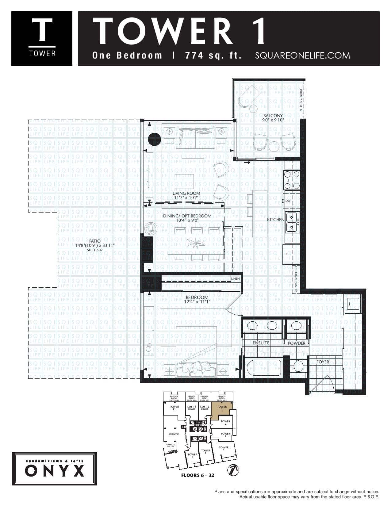 223-Webb-Dr-Onyx-Condo-Floorplan-Tower-1-1-Bed-2-Bath onyx condo Onyx Condo 223 Webb Dr Onyx Condo Floorplan Tower 1 1 Bed 2 Bath