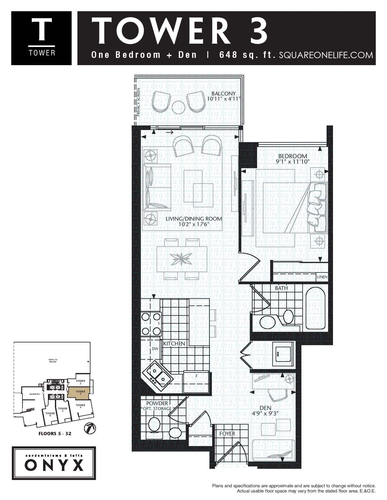 223-Webb-Dr-Onyx-Condo-Floorplan-Tower-3-1-Bed-1-Den-2-Bath onyx condo Onyx Condo 223 Webb Dr Onyx Condo Floorplan Tower 3 1 Bed 1 Den 2 Bath