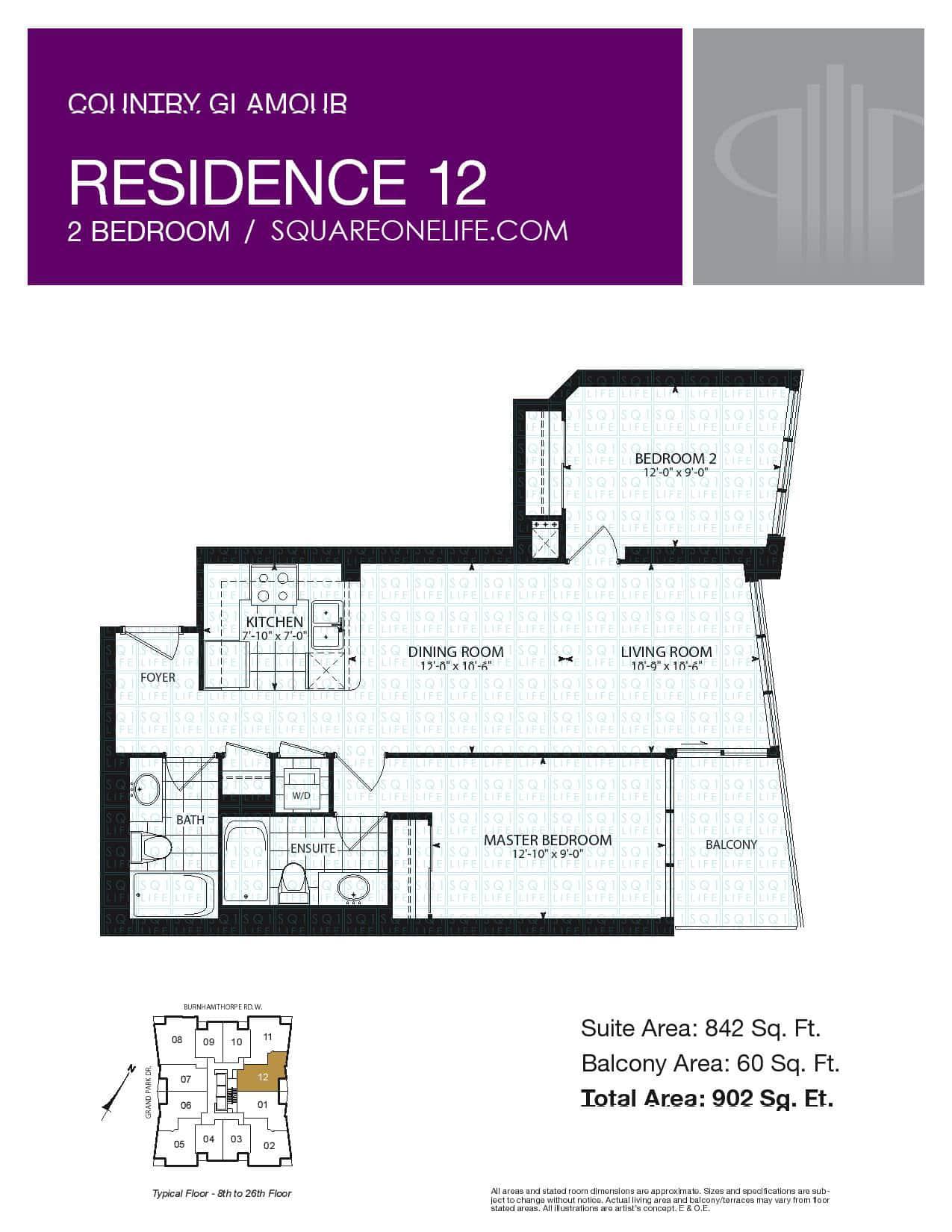 pinnacle grand park condo 3985 grand park dr squareonelife floorplan residence 12 2 bed 2 bath 842 sqft