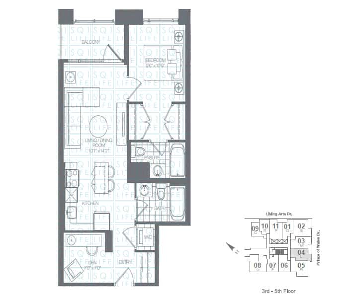 Limelight-Condo-365-Prince-Of-Wales-360-Square-One-Dr-Floorplan-Apple-1-Bed-1-Den-1-Bath limelight condos Limelight Condos Limelight Condo 365 Prince Of Wales 360 Square One Dr Floorplan Apple 1 Bed 1 Den 1 Bath