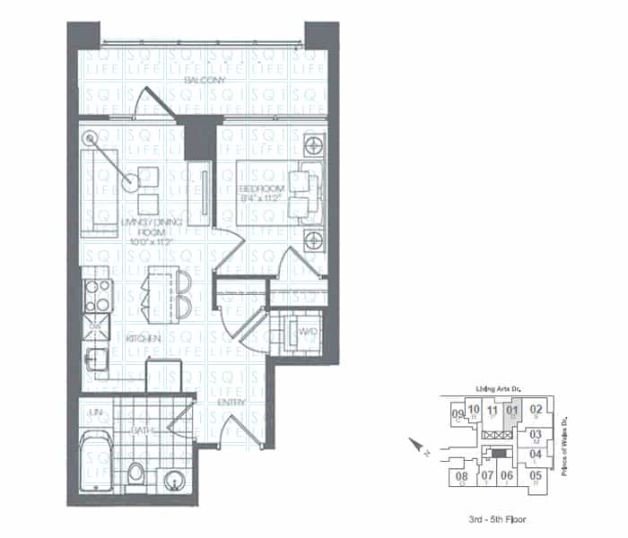 Limelight-Condo-365-Prince-Of-Wales-360-Square-One-Dr-Floorplan-Clover-1-Bed-1-Bath limelight condos Limelight Condos Limelight Condo 365 Prince Of Wales 360 Square One Dr Floorplan Clover 1 Bed 1 Bath