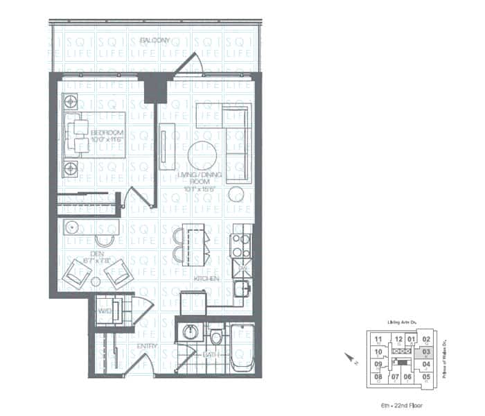 Limelight-Condo-365-Prince-Of-Wales-360-Square-One-Dr-Floorplan-Emerald-1-Bed-1-Den-1-Bath limelight condos Limelight Condos Limelight Condo 365 Prince Of Wales 360 Square One Dr Floorplan Emerald 1 Bed 1 Den 1 Bath