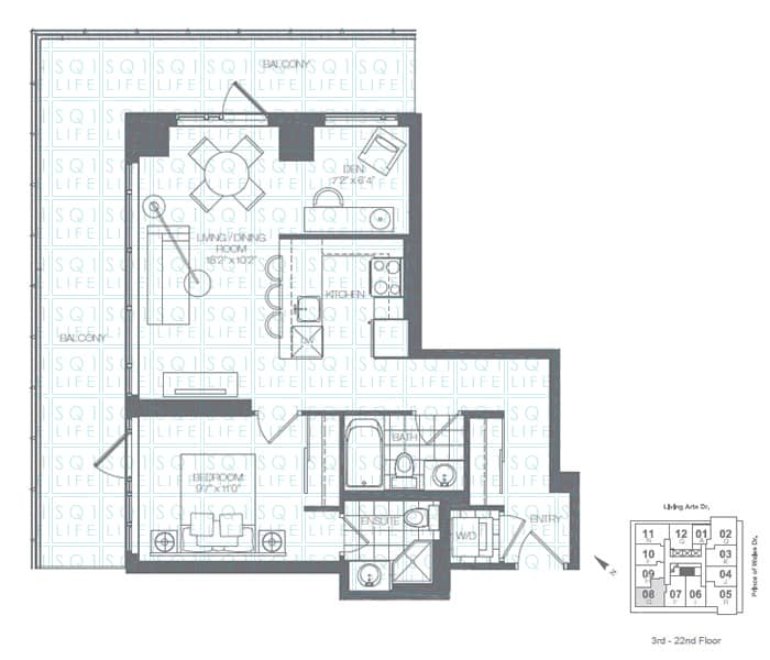 Limelight-Condo-365-Prince-Of-Wales-360-Square-One-Dr-Floorplan-Fern-1-Bed-1-Den-2-Bath limelight condos Limelight Condos Limelight Condo 365 Prince Of Wales 360 Square One Dr Floorplan Fern 1 Bed 1 Den 2 Bath
