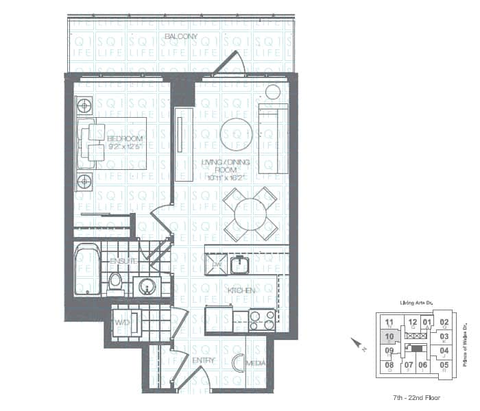 Limelight-Condo-365-Prince-Of-Wales-360-Square-One-Dr-Floorplan-Holly-1-Bed-1-Bath limelight condos Limelight Condos Limelight Condo 365 Prince Of Wales 360 Square One Dr Floorplan Holly 1 Bed 1 Bath