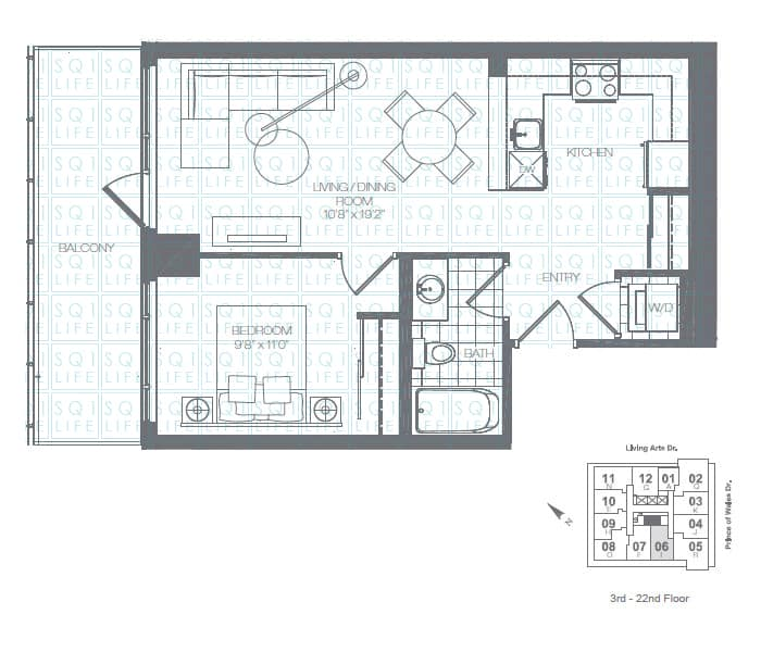 Limelight-Condo-365-Prince-Of-Wales-360-Square-One-Dr-Floorplan-Honeydew-1-Bed-1-Bath limelight condos Limelight Condos Limelight Condo 365 Prince Of Wales 360 Square One Dr Floorplan Honeydew 1 Bed 1 Bath