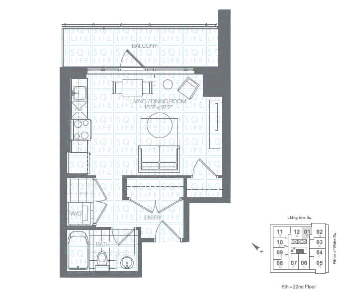 Limelight-Condo-365-Prince-Of-Wales-360-Square-One-Dr-Floorplan-Kiwi-0-Bed-1-Bath limelight condos Limelight Condos Limelight Condo 365 Prince Of Wales 360 Square One Dr Floorplan Kiwi 0 Bed 1 Bath