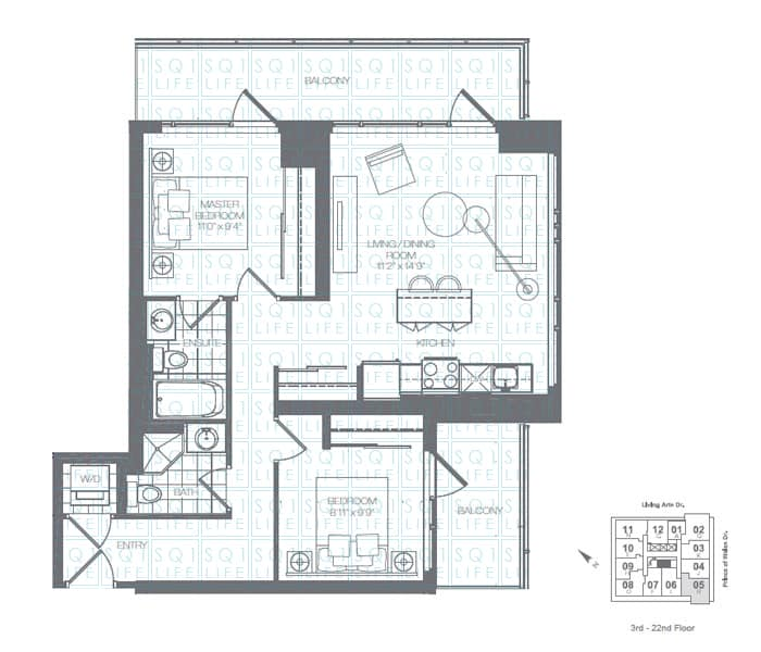 Limelight-Condo-365-Prince-Of-Wales-360-Square-One-Dr-Floorplan-Lime-2-Bed-2-Bath limelight condos Limelight Condos Limelight Condo 365 Prince Of Wales 360 Square One Dr Floorplan Lime 2 Bed 2 Bath