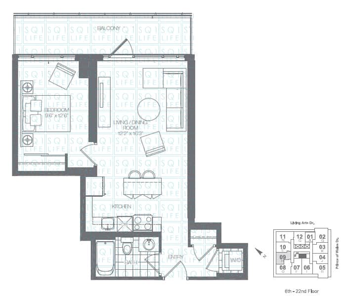 Limelight-Condo-365-Prince-Of-Wales-360-Square-One-Dr-Floorplan-Pine-1-Bed-1-Bath limelight condos Limelight Condos Limelight Condo 365 Prince Of Wales 360 Square One Dr Floorplan Pine 1 Bed 1 Bath