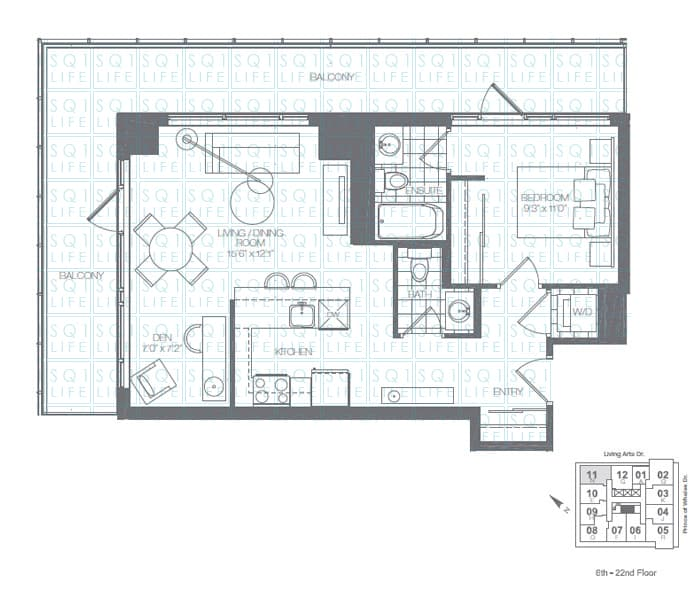 Limelight-Condo-365-Prince-Of-Wales-360-Square-One-Dr-Floorplan-Shamrock-1-Bed-1-Den-2-Bath limelight condos Limelight Condos Limelight Condo 365 Prince Of Wales 360 Square One Dr Floorplan Shamrock 1 Bed 1 Den 2 Bath