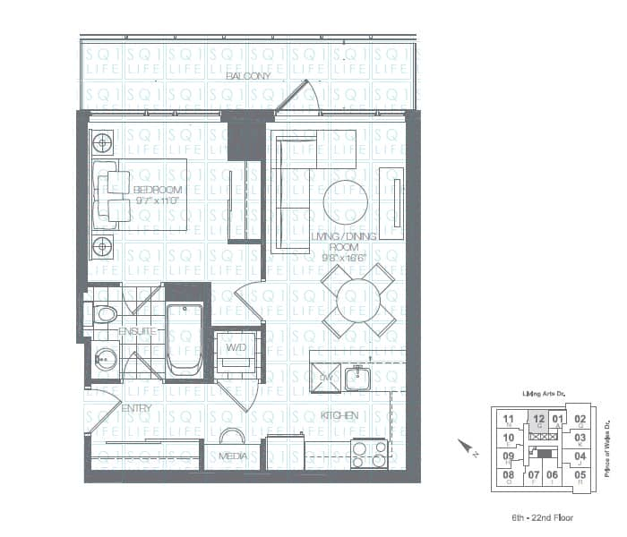 Limelight-Condo-365-Prince-Of-Wales-360-Square-One-Dr-Floorplan-Spruce-1-Bed-1-Bath limelight condos Limelight Condos Limelight Condo 365 Prince Of Wales 360 Square One Dr Floorplan Spruce 1 Bed 1 Bath