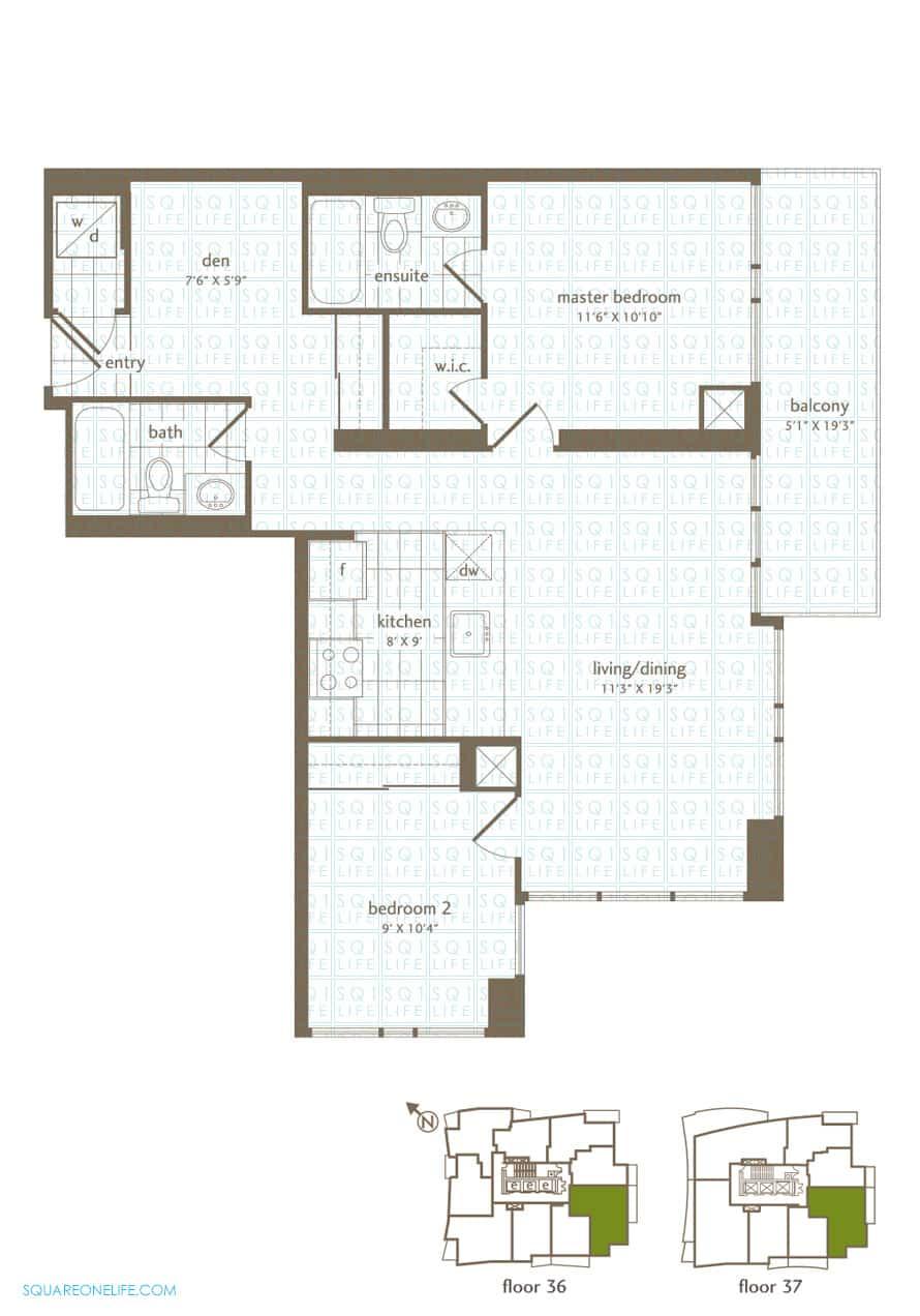 Park-Residences-Condo-Floorplan-LPH3-PH3-2-Bed-1-Den-2-Bath park residences condo Park Residences Condo Park Residences Condo Floorplan LPH3 PH3 2 Bed 1 Den 2 Bath