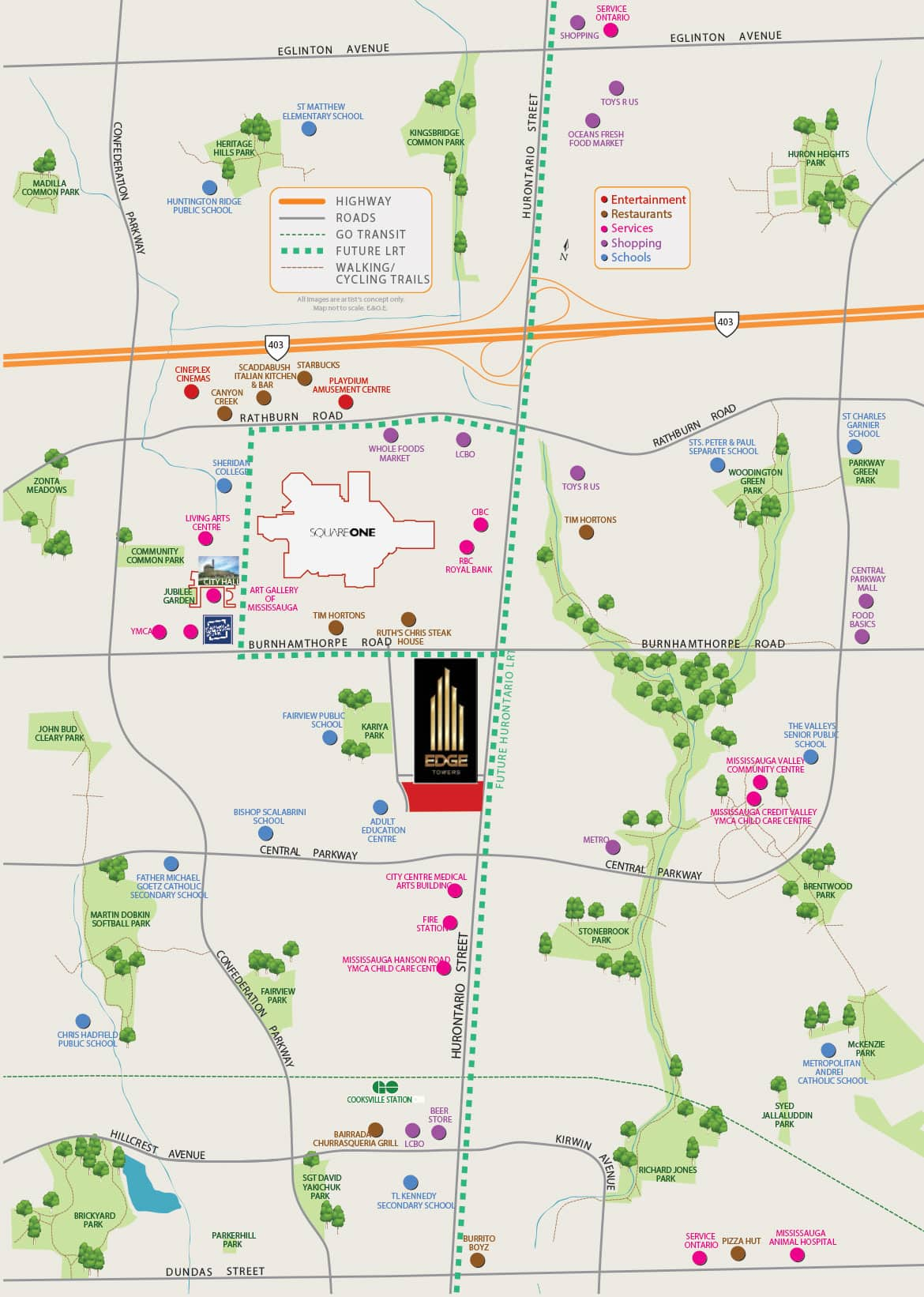 cooksville go Edge Tower 2 Condos edge towers 2 mississauga siteplan surrounding area square one